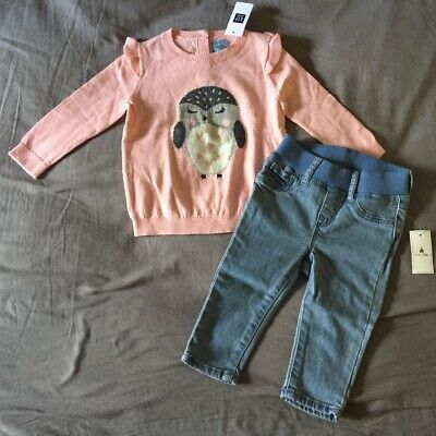 Baby Girl 6-12 Month Baby Gap Pink Owl Ruffle Sweater & Pull On Denim Jeggings