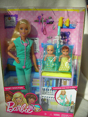 2016 Mattel Barbie Baby Doctor Career Doll Playset w/Doll Babies & Accessories