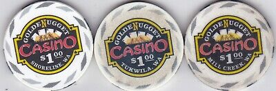 $1 Golden Nugget Casino Casino Chips-Mill Creek, Shoreline, Tukwilla, Washington