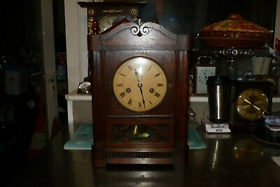 Antique German Oak Cabinet /Bracket Clock