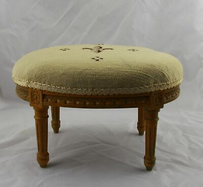 Antique French Louis XVI Carved Walnut & Needlepoint Foot Rest Footstool 14-1/2""
