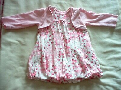 Girls Pink & White Floral George Dress Size 3 - 6 Months