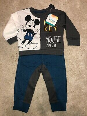 Baby Boys BNWT Disney Mickey Mouse Top & Trouser Set 6-9 Months