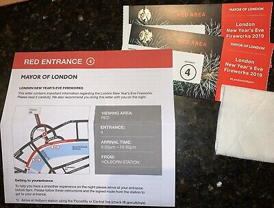 2 Tickets London New Years Eve Fireworks Red Area
