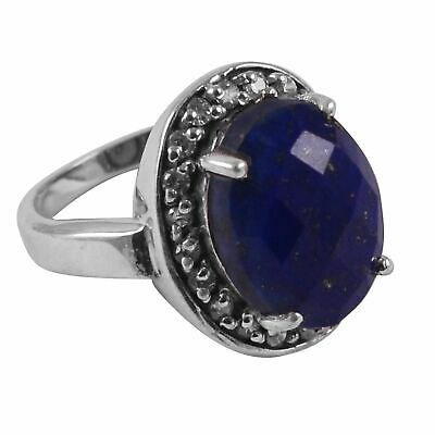 Faceted-Lapis Lazuli Solid 925 Sterling Silver Ring  Jewelry Size-8 AR-7600