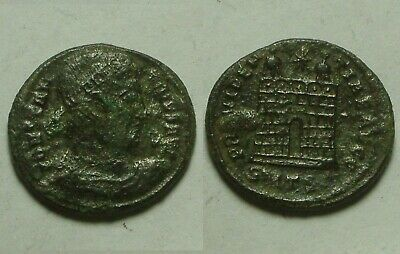 Constantine I/Rare ancient Roman coin Camp-gate turrets Star 328 AD Thessalonica