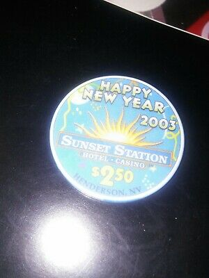 Sunset Station Casino Happy New Year $2.50 Chip Snapper