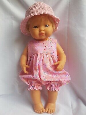 Handmade dolls clothes (Rompersuit, hat set), fit 38cm Miniland doll