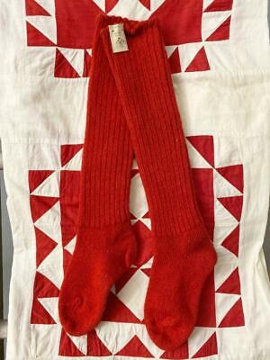 "Old Pair of Christmas Red Wool Stockings AAFA 20"" Vintage Antique NWT Primitive"