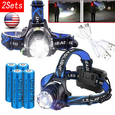 350000Lumen T6 LED USB Rechargeable Headlamp Zoomable 18650 Headlight Head Light