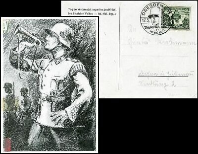 Ge079. German Military Forces Day Post Card 1940 Dresden Special Cancel
