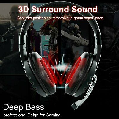 3.5mm Wired Gaming MIC Chat USB LED Light Headset Headphone For PS4 Xbox One AU