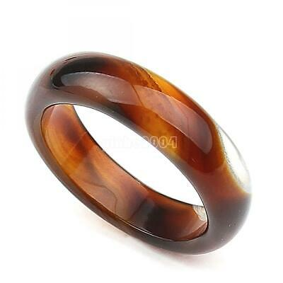 Chic Womens Men Natural Quartz Gemstone Agate Finger Band Ring Size Jewelry 7 8
