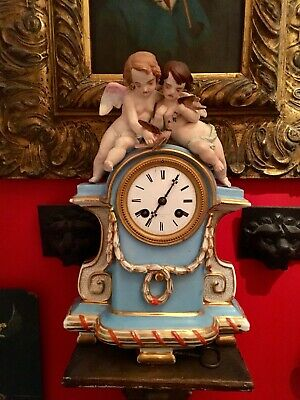 Antique Victorian French Ornate Porcelain Clock Henry Bright a Paris