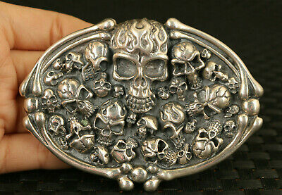 cool fashion 925 silver solid silver skull statue noble belt fastener decorate
