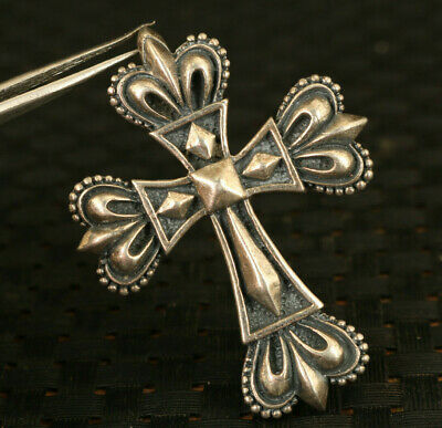unique 100% 925 Solid silver crown cross bless statue pendant netsuke gift