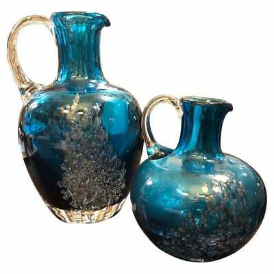 Set of Two Vintage Blue and Gray Glass Jugs, circa 1980