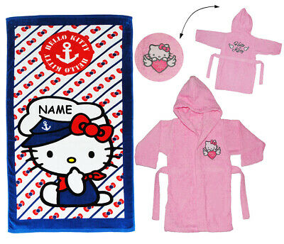 "2 tlg. Set _ Strandtuch & Frottee Bademantel - "" Hello Kitty "" - incl. Name - 2"