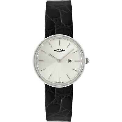 Rotary GS21226/06 Gents Sterling Silver Analogue Leather Strap Watch RRP £249.00