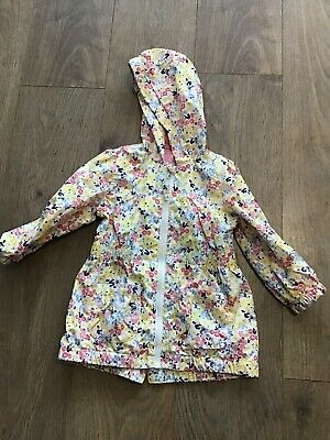 Nutmeg Girls Age 2-3 Years White Pink Floral Hooded Coat K1