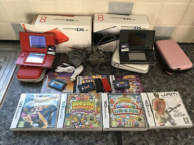 2 Nintendo DS Lite Consoles with Chargers Games & M3 DS REAL RUMBLE CARTRIDGE