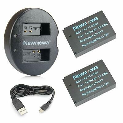 Newmowa Lp-E12 Battery (2-Pack) And Dual Usb Charger For Canon Eos