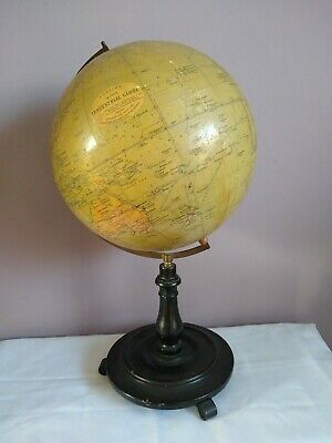 Rare Philips 12 Inch Large Terrestrial Globe. Circa 1920'S.brass & Footed Stand.