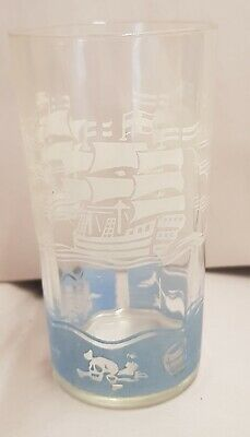 Vintage Swanky Swig Drinking Glass White Pirate Tall Ships Buried Treasure