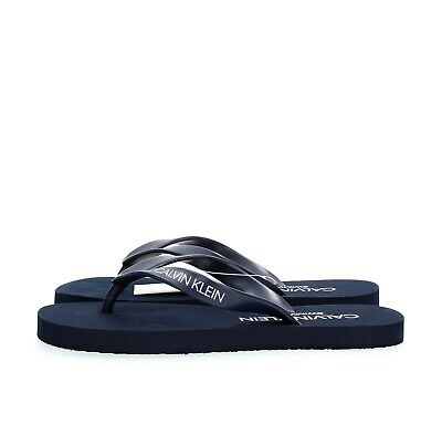 CALVIN KLEIN Unisex adult and guys KM0KM00341 FF SANDALS Blue-445 BLUE SHADOW