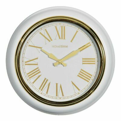 White & Gold Deep Case 32cm Diameter Contemporary Wall Clock By Hometime