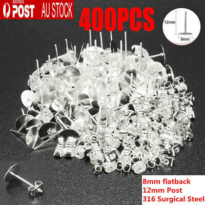 400PCS Earring Stud Posts 8mm Pads & Nut Backs Silvery Surgical Steel DIY