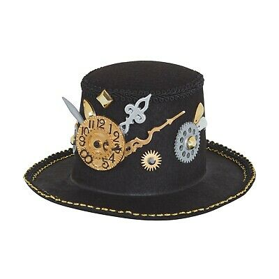 Steampunk Mini Top Hat with Cogs and Gears Hair Clip Fancy Dress Themed Party