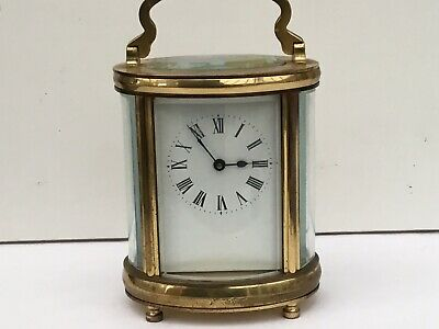 Antique Oval Brass Carriage Clock, c. 1910/20 - Works Well