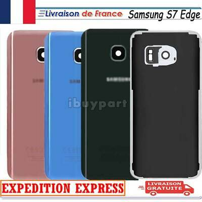 VITRE ARRIERE CACHE BATTERIE SAMSUNG GALAXY S7 EDGE+ADHESIF+Lentille Camera+LOGO