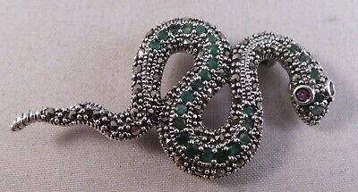 New Sterling Silver Green Stone & Marcasite Snake Pin  Badge / Brooch / Pendant