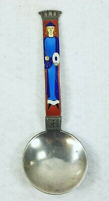 Antique Norway J. Tostrup Sterling Silver and Enamel Spoon Oslo