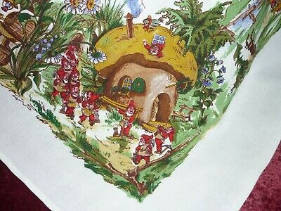 UNUSUAL Printed Vintage Tablecloth Elves,Gnomes & Toadstool Houses GC.