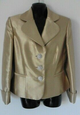Gai Mattiolo Smart Gold Shimmer Diamonte Button  Jacket Size 12  Immaculate