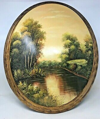 Vintage Mid Century Gilded Italian Lacquered Oil on Oval Wood Landscape Painting