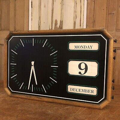 Vintage Oak Framed Factory Wall Clock Perpetual Calender