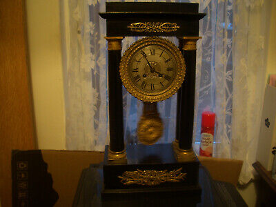 Victorian Portico Clock Fully Restored And Serviced Good Working Antique Clock