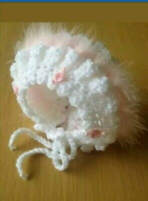 0-3 months Baby Girl White Crochet Bonnet With pink  Marabou And pink Rosebuds