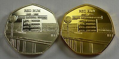 Pair of RED RUM RACEHORSE Silver, Gold Commemoratives ERROR COINS. Collectors