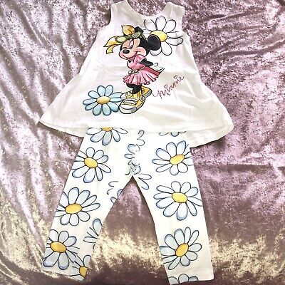 Monnalisa Minnie Mouse Top Daisy Leggings Outfit Set Cute Summer Holiday Age 5