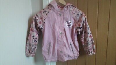 Girls Fleece Lined Hooded Pink Waterproof Jacket. Age 4-6