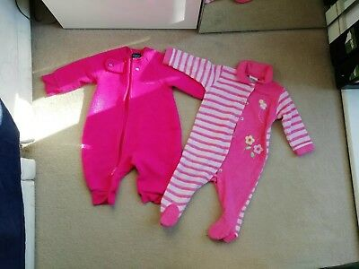 2 Baby Girls all In One suit Pyjamas Size 6-9months