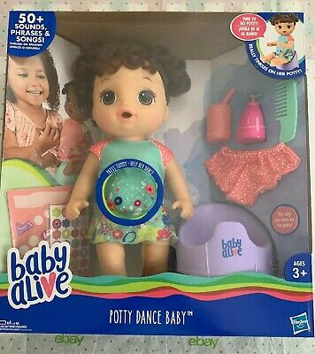 Brand New in Package Baby Alive Potty Dance Talking Brown Hair Baby Doll