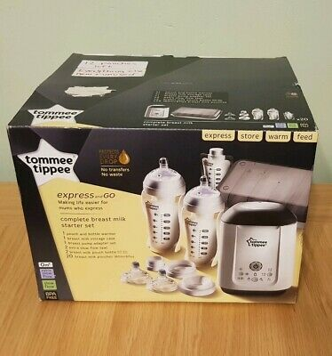 Tommee Tippee Express &Go Complete Breast Milk Starter Set Bottle Warmer Pouches