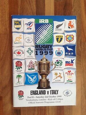 England V Italy Rugby World Cup 1999 Pool B Match Programme