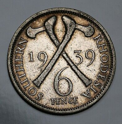 1939 Southern Rhodesia Silver 6 Pence / Sixpence Coin George VI KM# 17 Rare